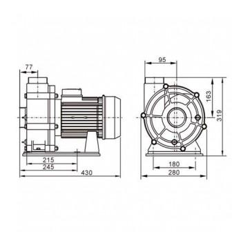 Насос для бассейна Bridge, 4 кВт, 75 куб.м/ч, 380 В (90 мм КВ)