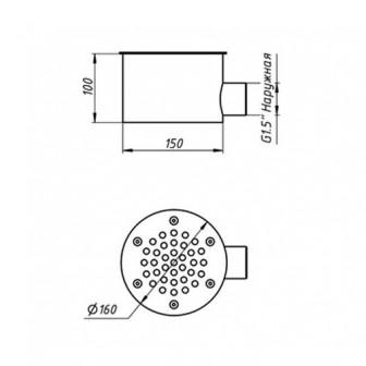 Донный слив круглый, диаметр 150 мм.