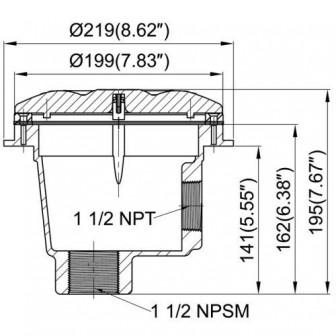 Донный слив Bridge под лайнер/бетон. Боковое подключение  1 1/2
